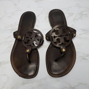 Tory Burch Miller Brown Leather Sandals